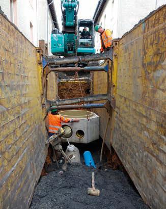 Dank der kompletten Vorfertigung der Schachtunterteile sind diese auf der Baustelle sofort einsetzbar.