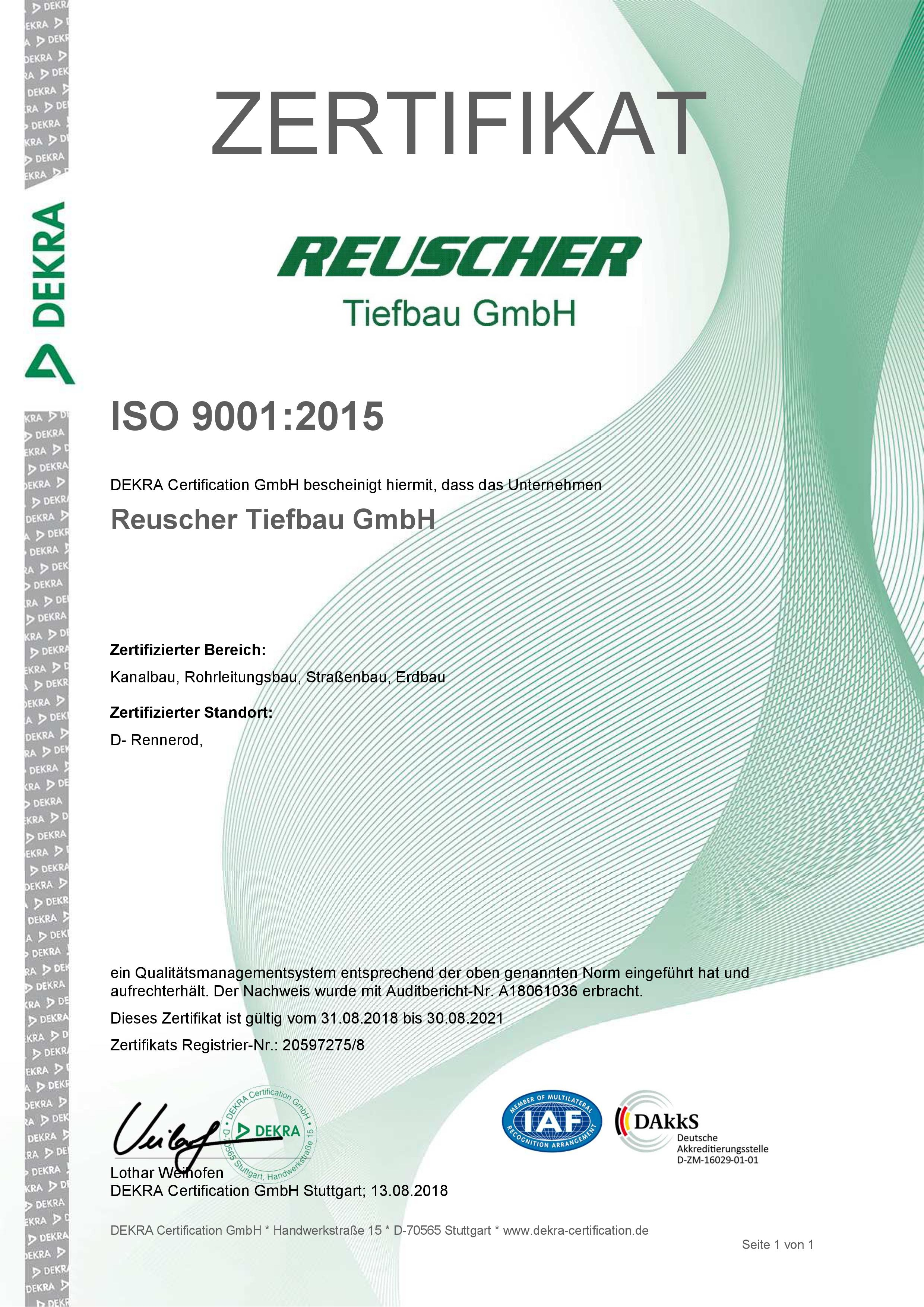 Dekra Zertifikat 2018