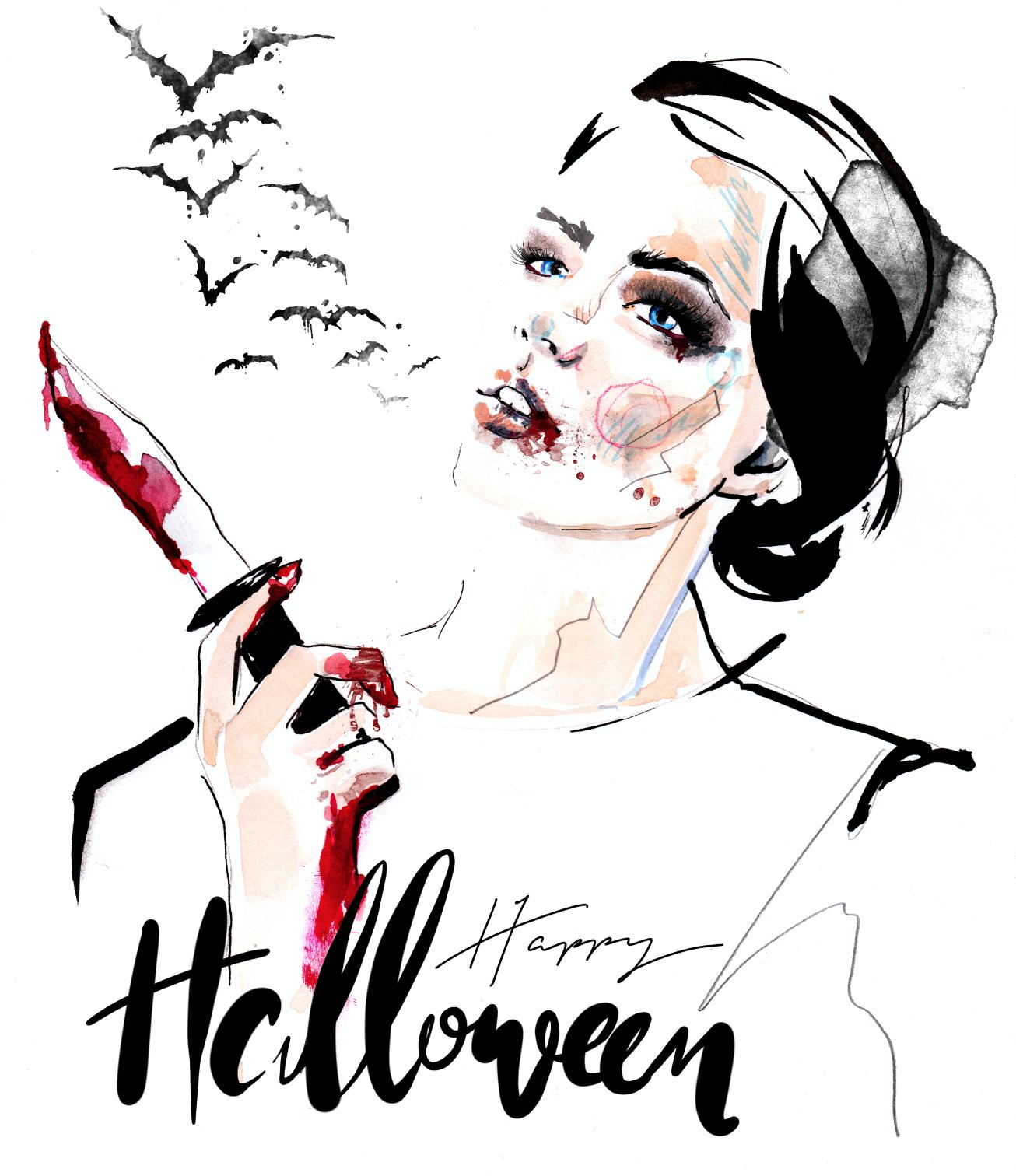 Halloween fashion illustration