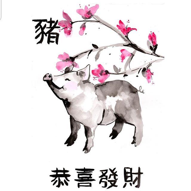 恭喜發財,年年有餘 。  Wishing you much happiness, health and good fortune for the year of the Pig. 🐷🐖💗🏵🌸🐽. . . . #kungheifatchoi #hkig #lunarnewyear #yearofthepig #illustration #ink #watercolour #drawing #art #timelapse #pig #Painting