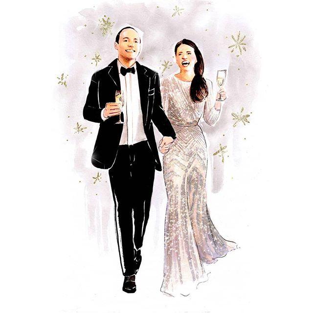 Recent wedding couple commissions 👰🤵💒💍💖💟💗. . . . #portrait #fashionillustration #drawing #art #illustration #hkig #hkartist #hkillustrator #watercolour #wedding #weddingcouple #weddingart