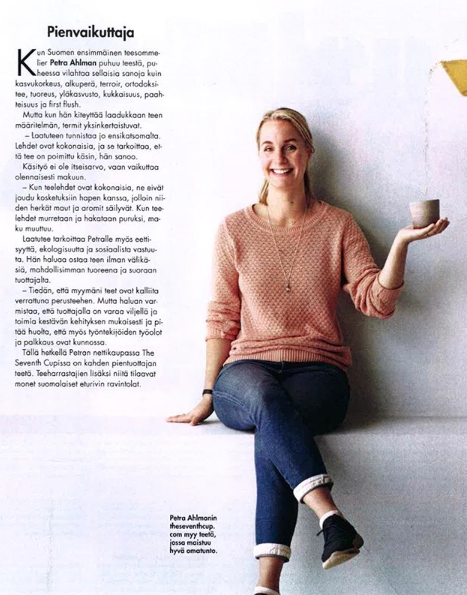"""Happy Friday 🌿My unique brownish tumbler-teacup has been featured in Finnish magazine  @glorianruokajaviini  September issue 2018 👍 Lovely  @petraahlman  owns a tea webshop  """"The Seventh Cup""""  , where you can find my teacups! Thank you very much Petra!   @pollipots   @petraahlman  #pollipots   #feature   #food   #foodmagazine  #tea   #pots   #tumbler   #magazine   #glorianruokajaviini"""