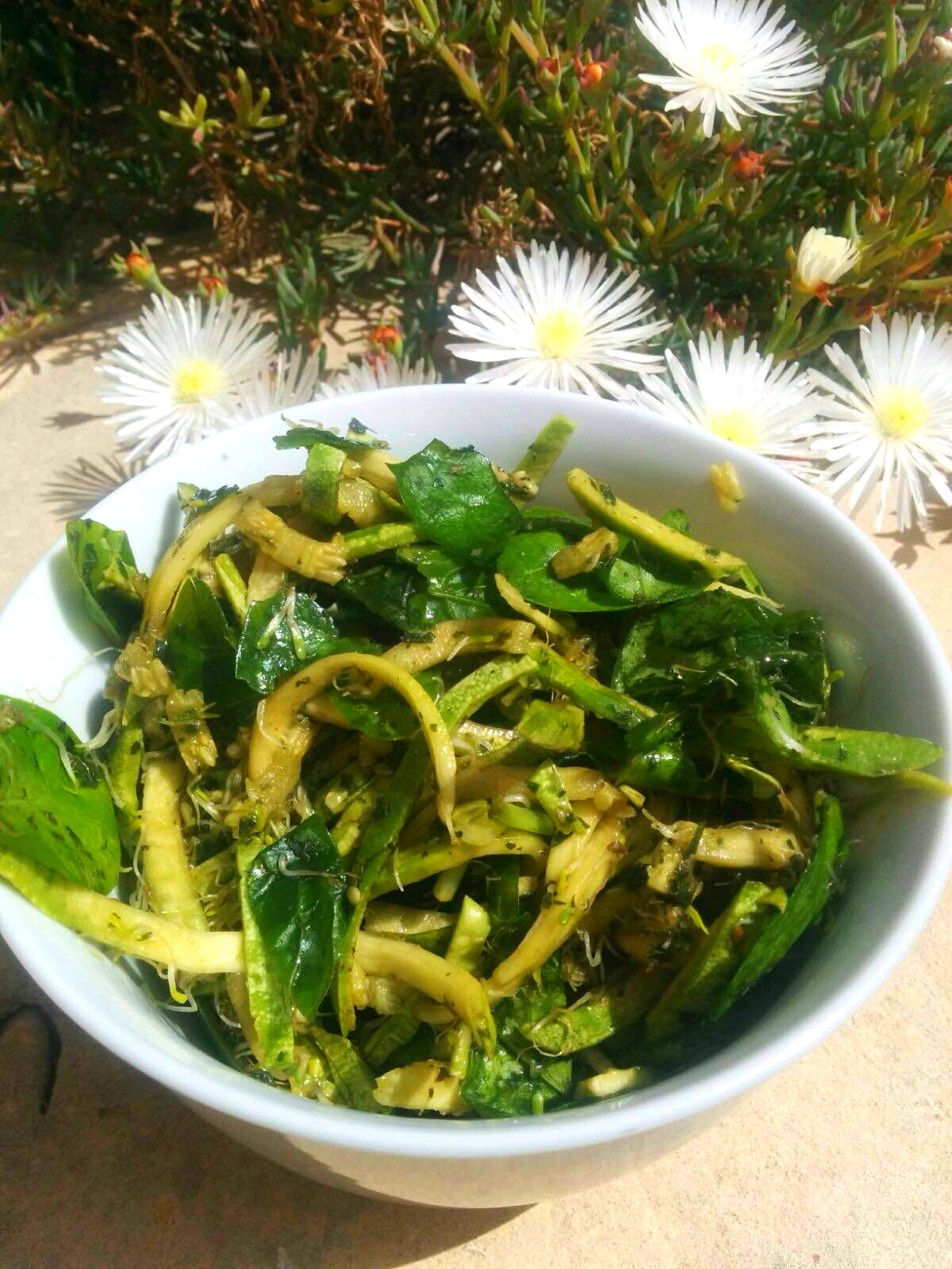 Spiralized Green Sprouting Salad