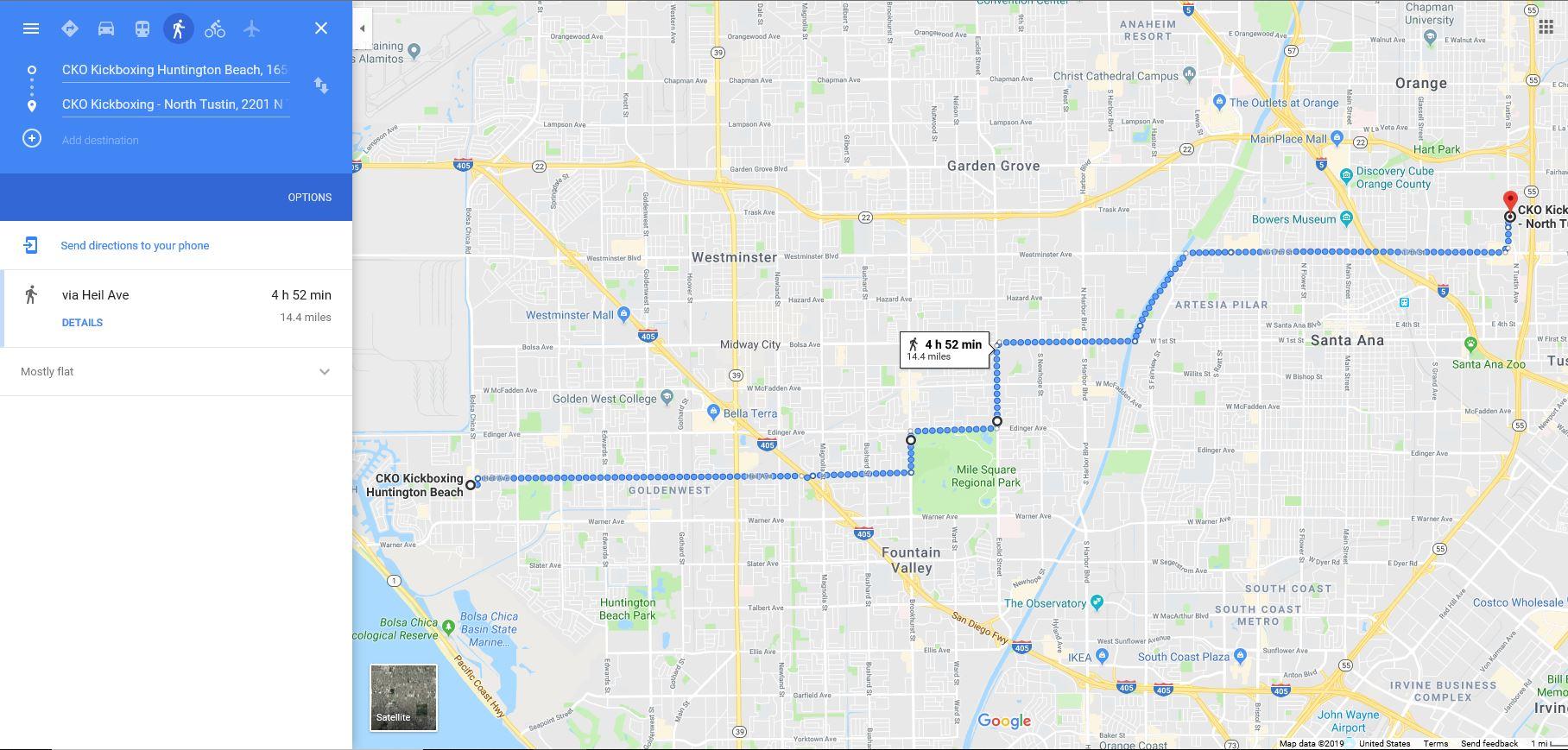 14.5 Mile Run - checkpoints7am CKO Huntington Beach -run930am CKO North Tustin (interview)