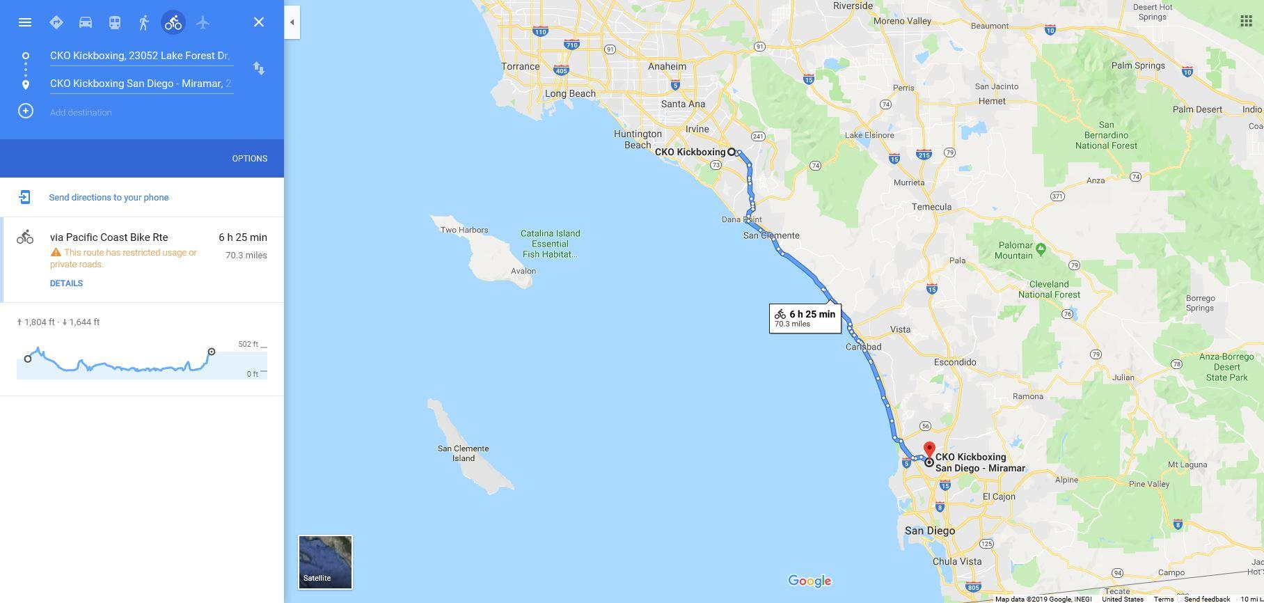 70 Mile Bike Ride - checkpointsCKO Laguna Hills 130pmCKO Miramar 9pm