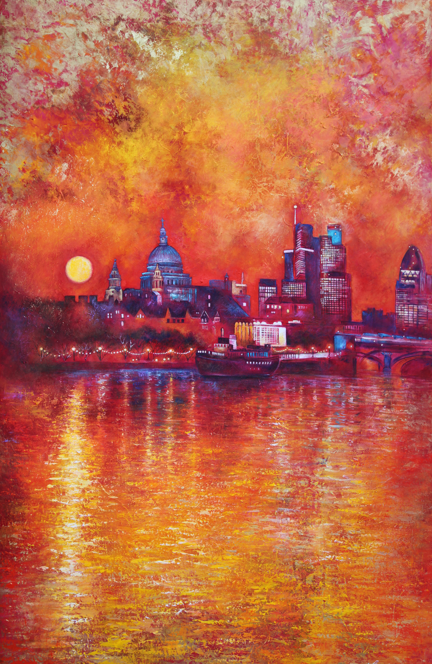 Over the years, Louise has taken on increasingly more ambitious commissions, including a triptic (series of 3 paintings) of the view from the Richmond hill terrace in South West London, and a 2 metre x 1.6 metre boxed canvas of St Paul's Cathedral and River Thames in London.
