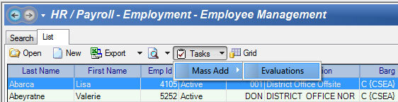 Mass Employee Evaluations