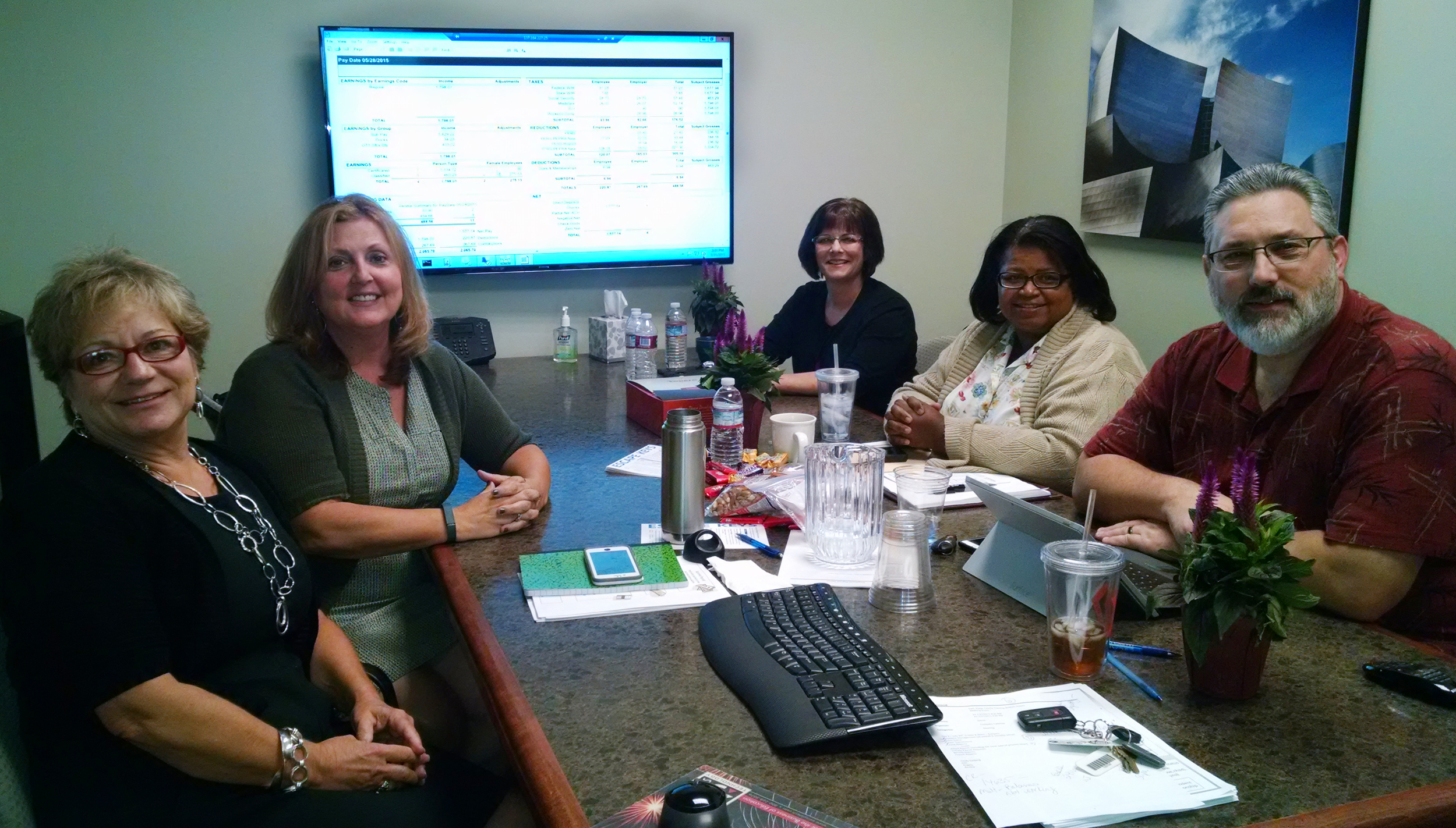 From left, clockwise: Cindy Kasberg, Auburn Union School District, Account Technician, Terri Hammond, Escape System Trainer, Angela DeGraaf, Placer COE, IT Support Specialist III, Roveta Waters, Placer COE IT Support Specialist III, and Joel Toste, Placer COE Senior Director Integrated Fiscal Services