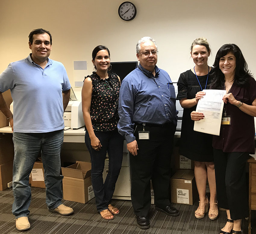 Above, the Imperial COE team is happy with the end of month payroll run! Pictured left to right: Francisco Avila, Business Apps Developer;Jennifer Villafana, Assistant Director, Payroll & Retirement;Lino Velarde, Chief Information Officer;Brandi Kalin, Technology Apps Specialist; and Norma Fajardo, Senior Director, External Business.