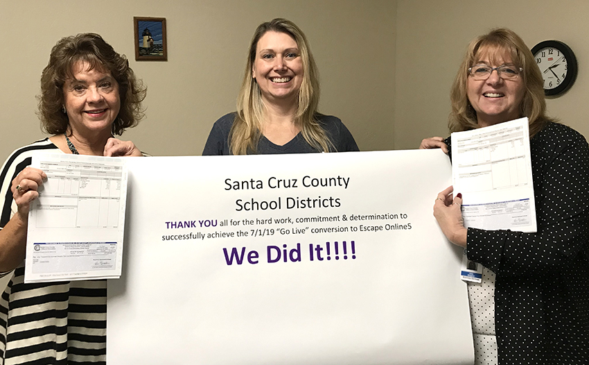 Pictured above, left to right: Cathy Carr, Systems Support Liaison at SCCOE; Monica Beverly, Manager, Business Information Systems at SCCOE; and Jody Belgard, Senior Systems Support Liaison at SCCOE.