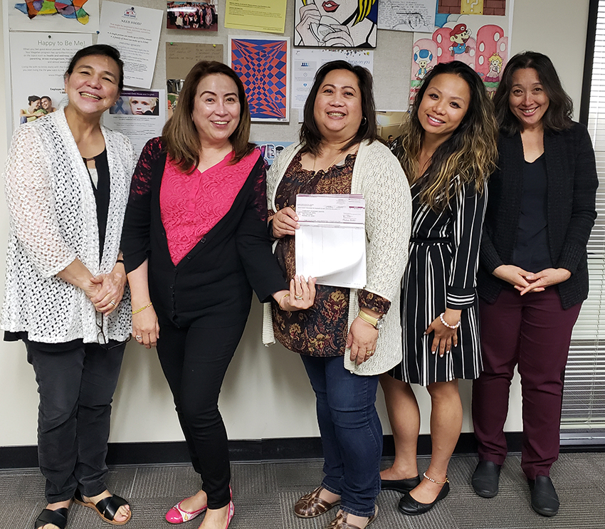 Alameda USD staff pictured above left to right: Cel Carbajal, Accounting Assistant III; Marites Delos Reyes, Accounting Assistant III; Gina Sacro, Accounting Supervisor; April Dizon, Director; and Giselle Addicott, Accounting/Purchasing Manager.