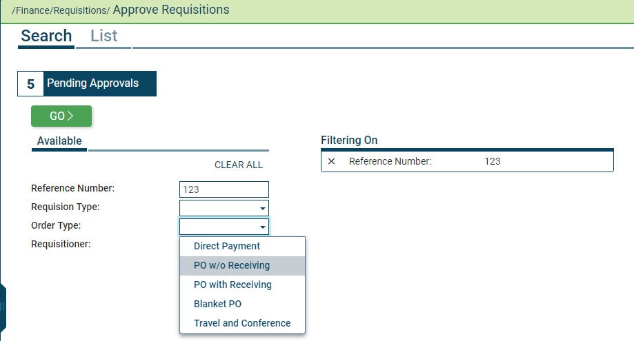 On the Approve Requisitions page, you can immediately see how many approvals are pending.