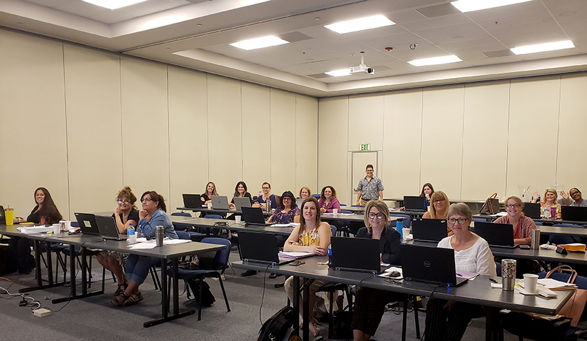 Madera CSOS attendees at leave training. Margie Wells, Escape Implementation Analyst is standing at the rear.