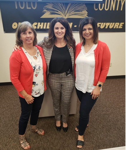 Pictured above left to right: Katie Baugh, Cottonwood District in Shasta County; Danyel Conolley, Director, Management Consulting Services, School Services of California; and Elen Meltonyan, Escape HR/Payroll Product Area Team Manager.