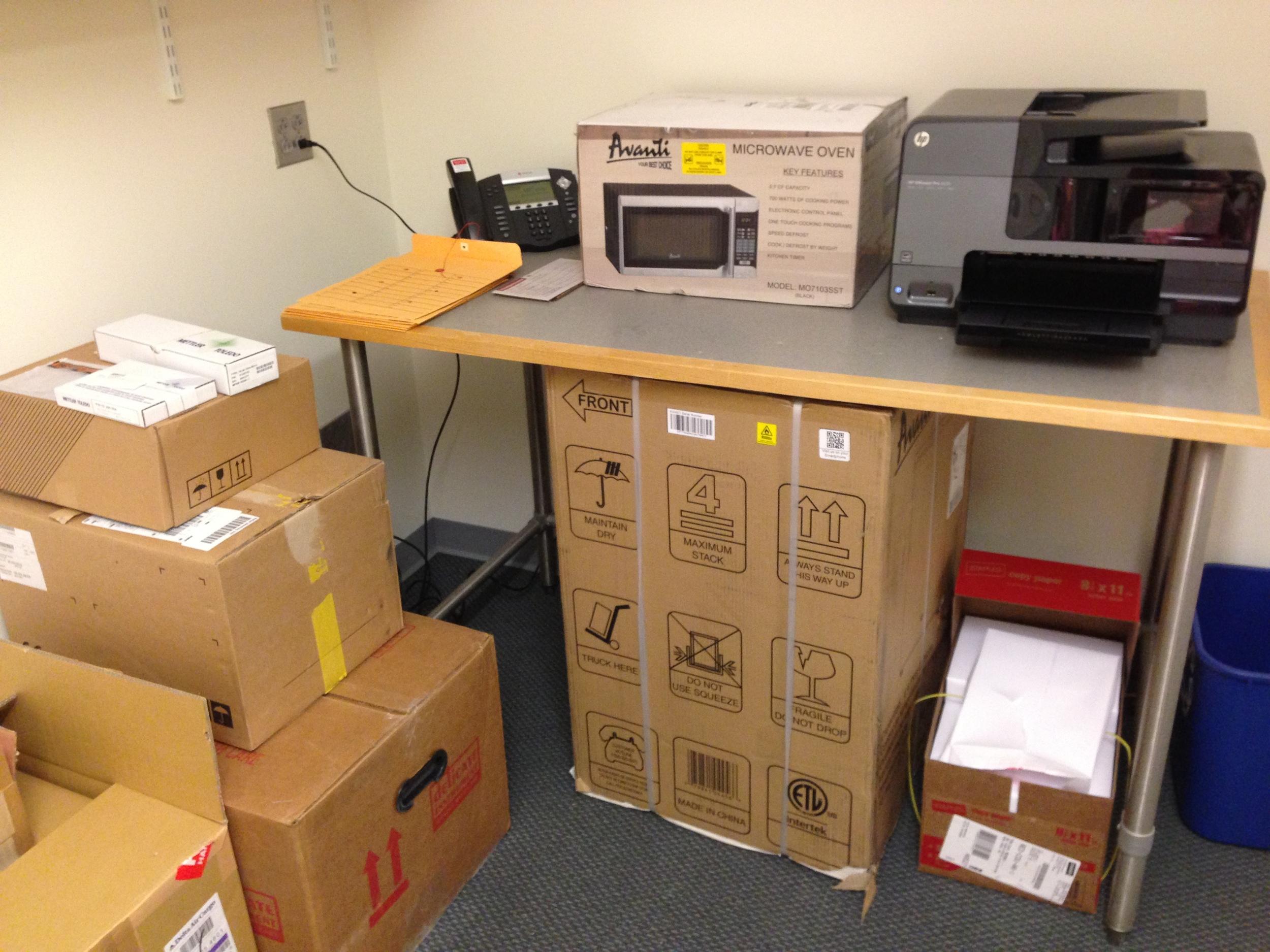 Balance, pH meter, printer, and all important microwave and mini-fridge!