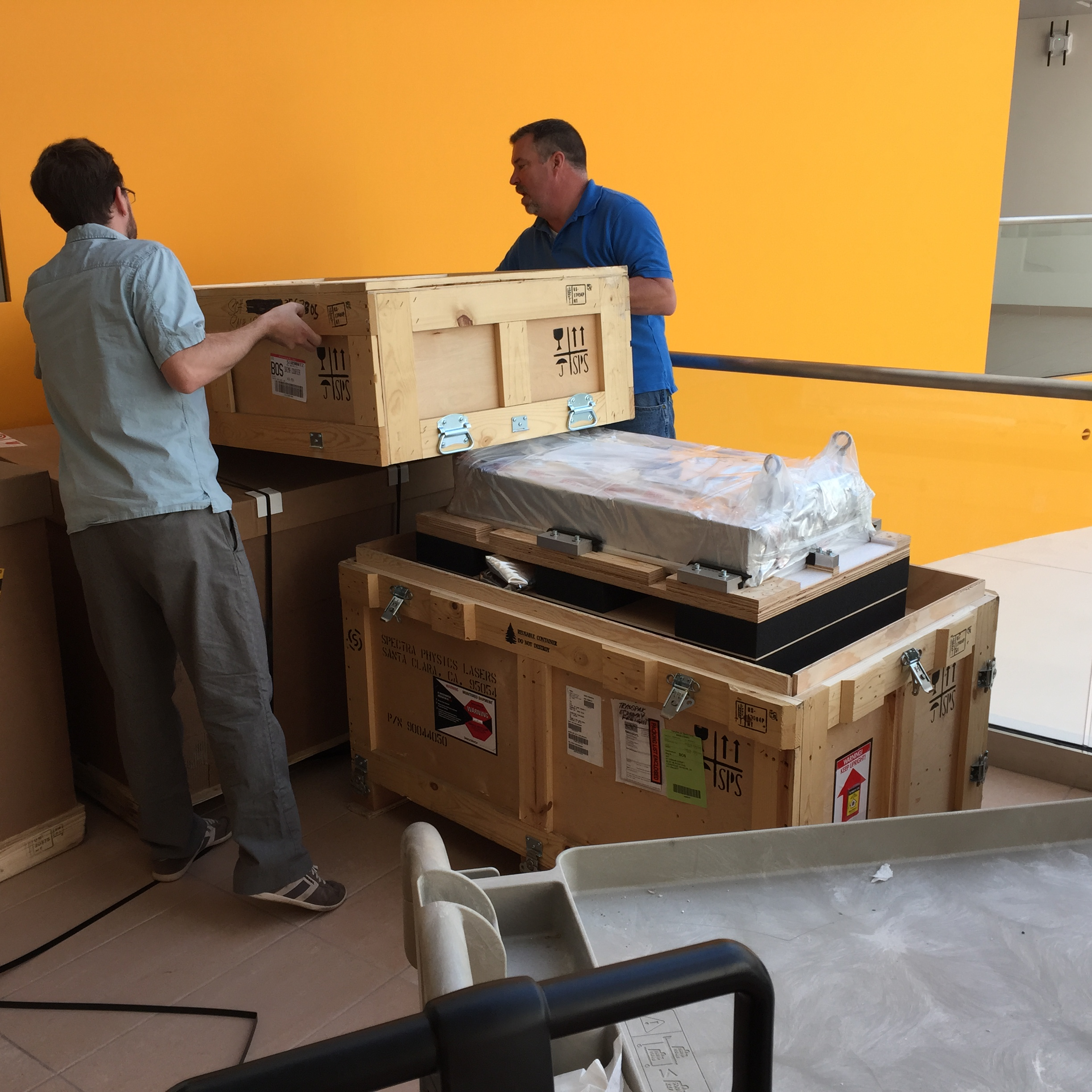 Uncrating with our fantastic installer Sean.