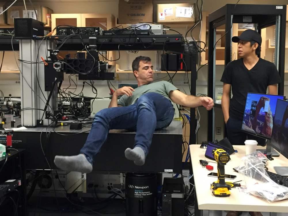 Josh and Adrian from Neurolabware working hard.