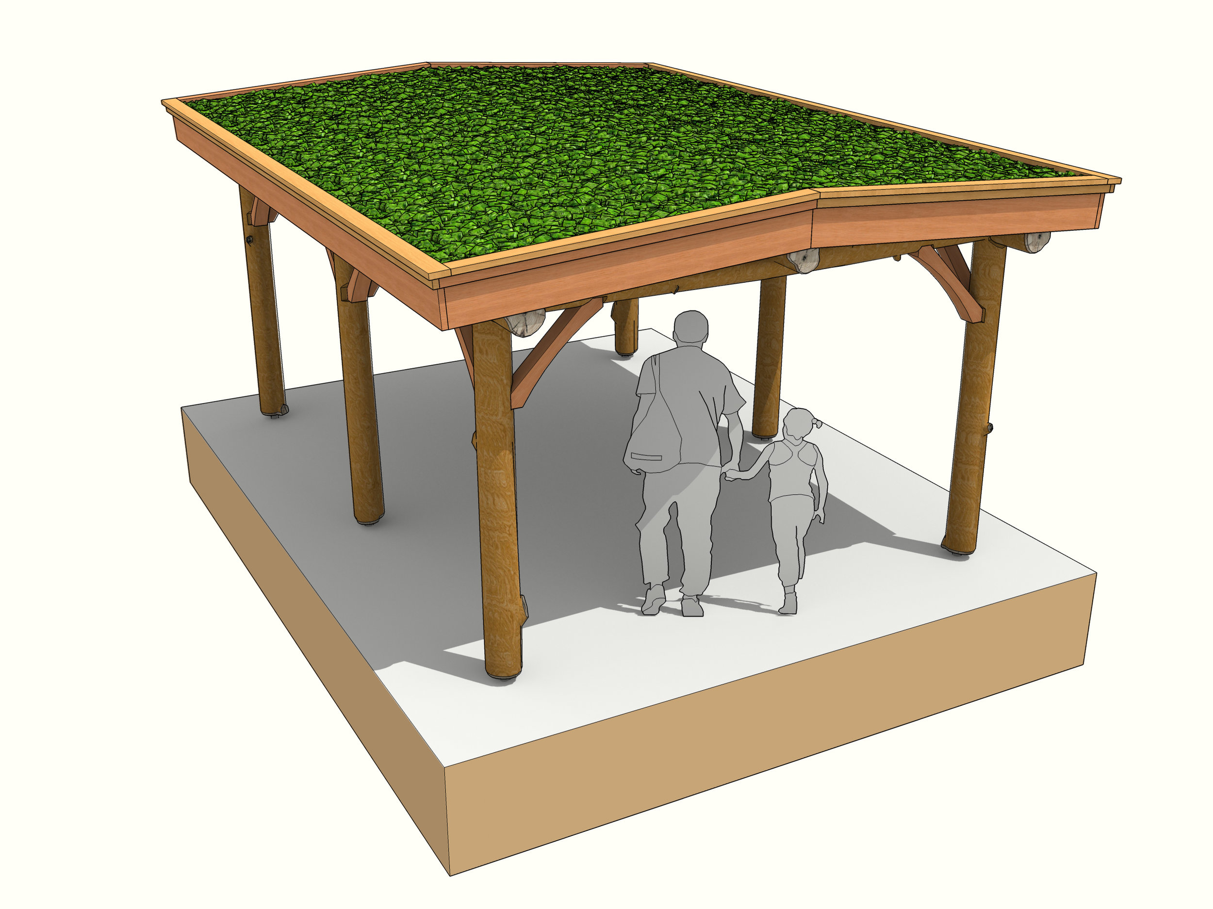 car port green roof twin pitch round pole timber frame gazeebo garden shelter.jpg