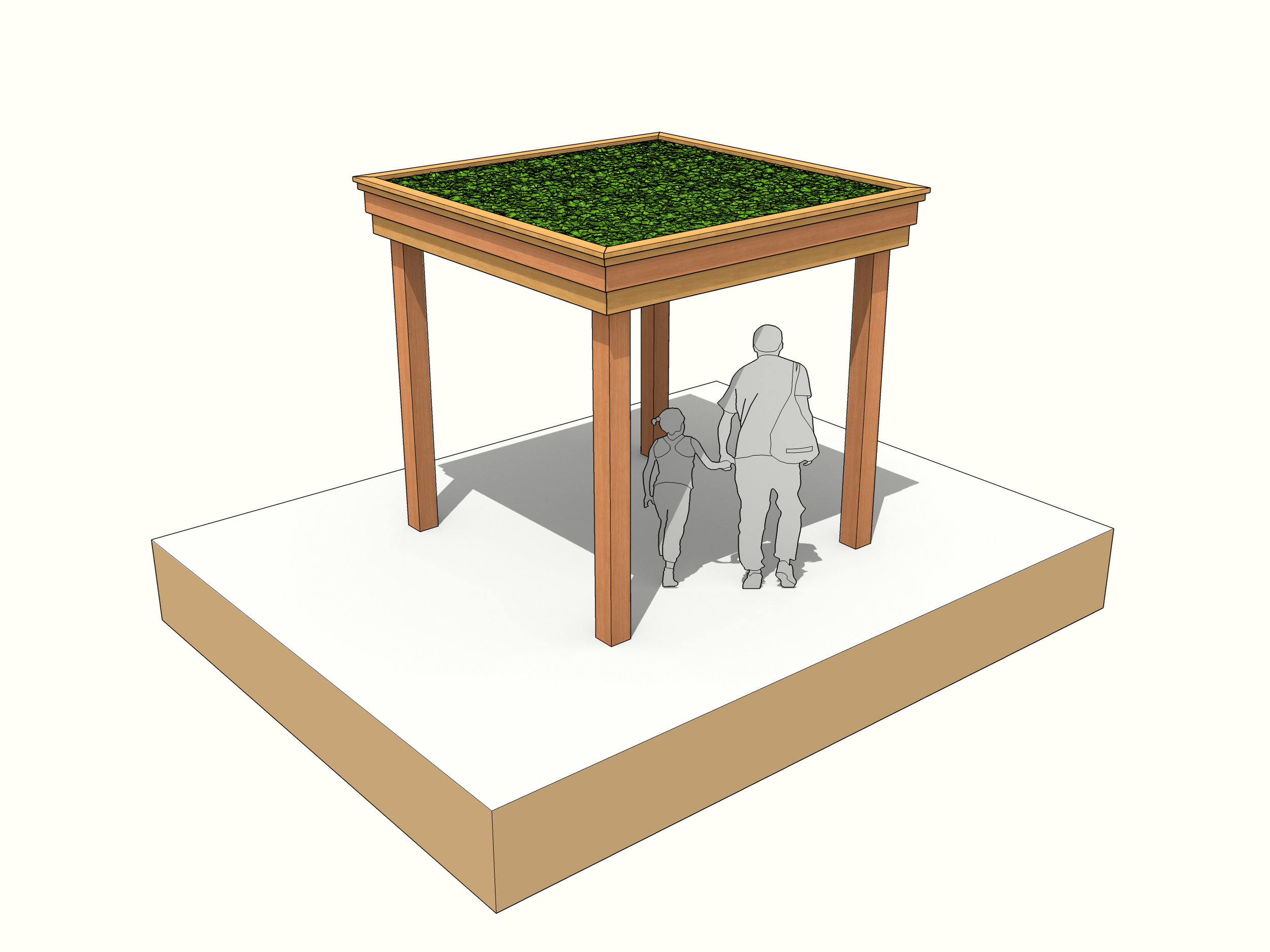 square gazeebo green roof shelter round pole timber frame garden structure.jpg