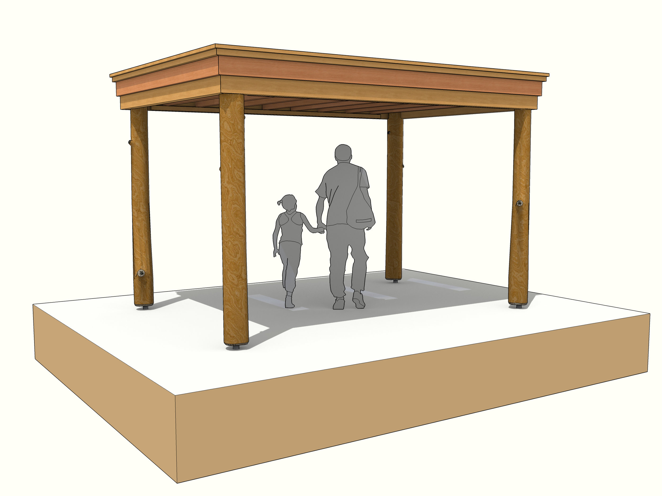 Rectangular timber frame round pole gazeebo garden shelter.jpg