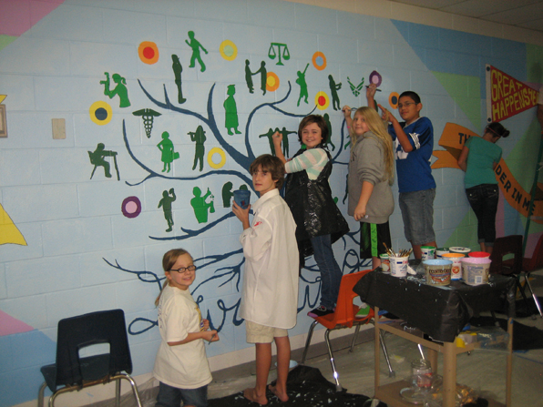 Mural completed with students in grades 3-8
