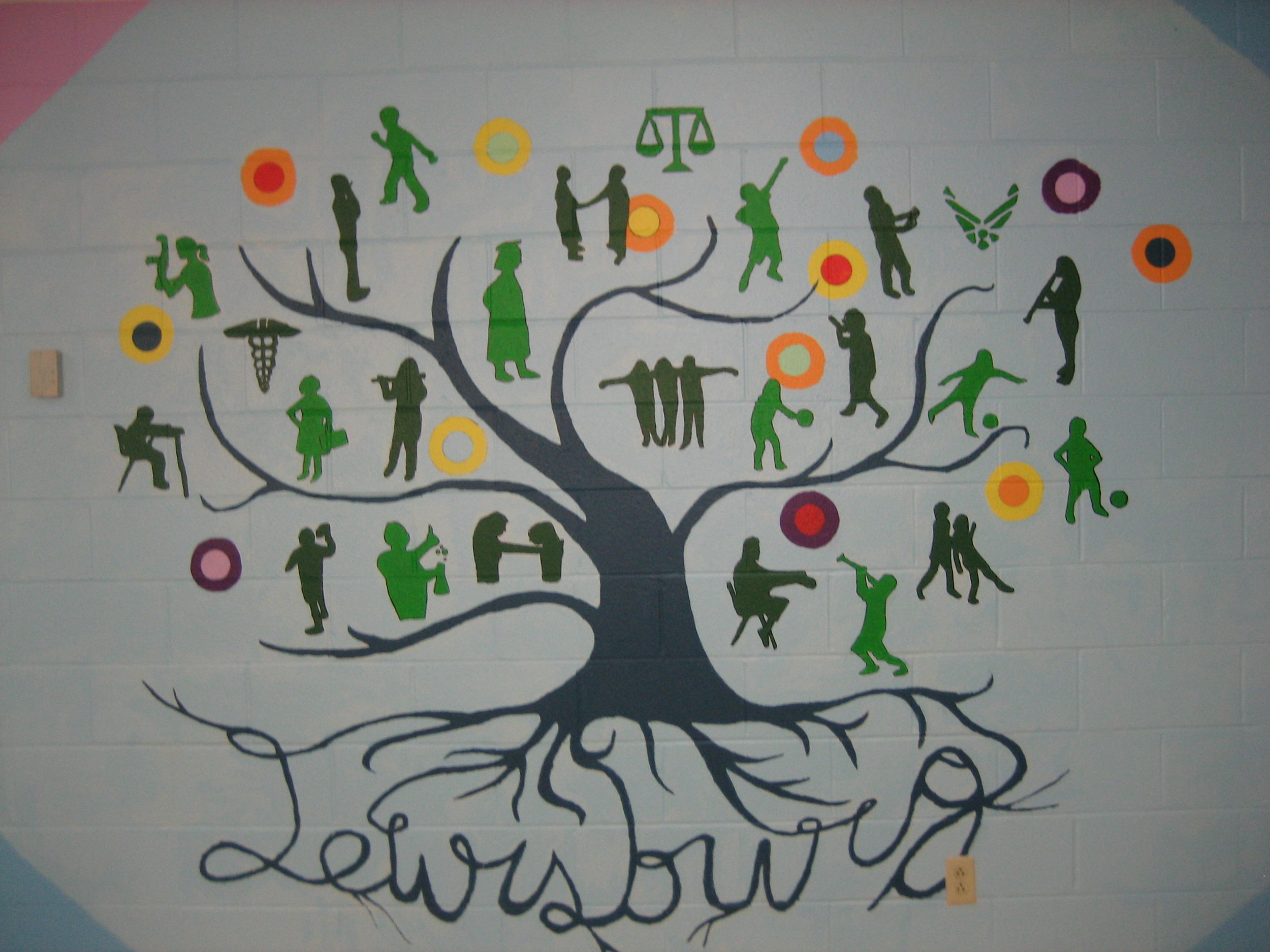 Lewisburg School Mural, with students in grades 3-8