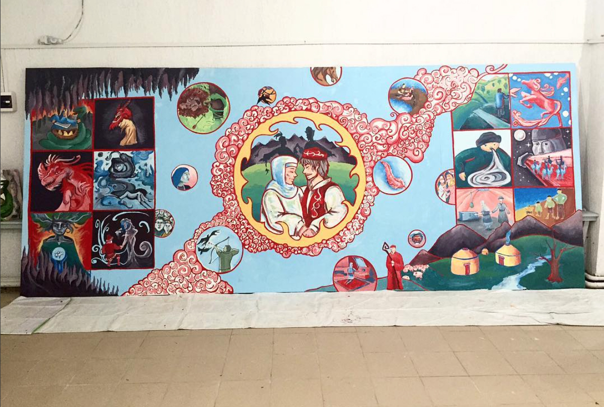 Mural with Students in Kazakhstan