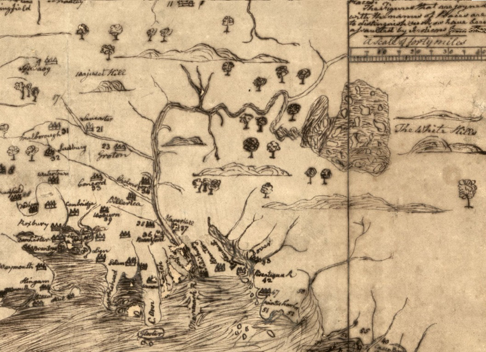 Map of the Merrimack River valley by William Hubbard, c.1660. North is to the right. Image/Library of Congress