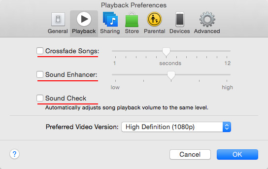 - Crossfade Songs, Sound Enhancer, and Sound Check should all be   Disabled  .