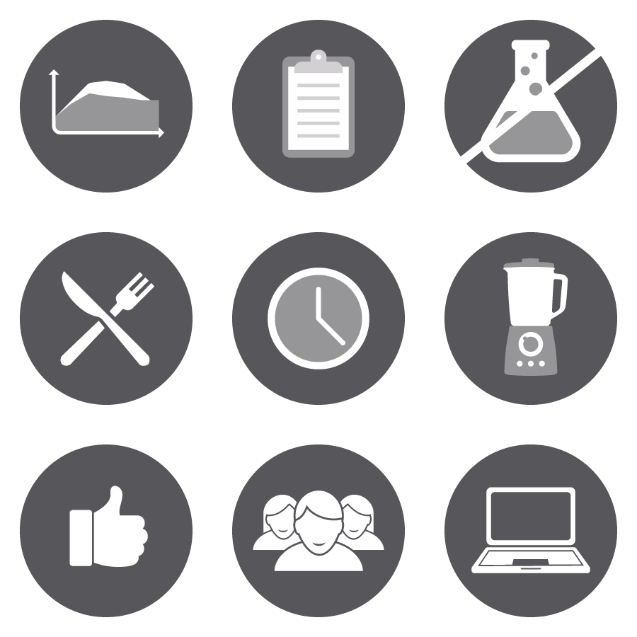 Various icons designed for pages of the Designer Protein website.