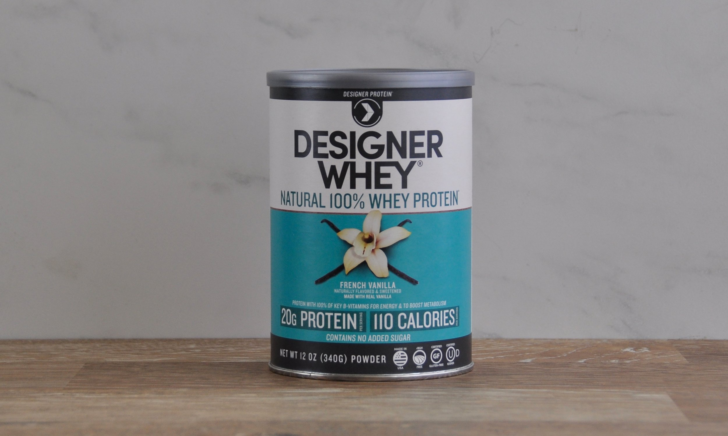 One of our most popular SKUs, Designer Whey French Vanilla, 12oz - collaborated on front panel design, in charge of designing back and nutritional panel layouts.