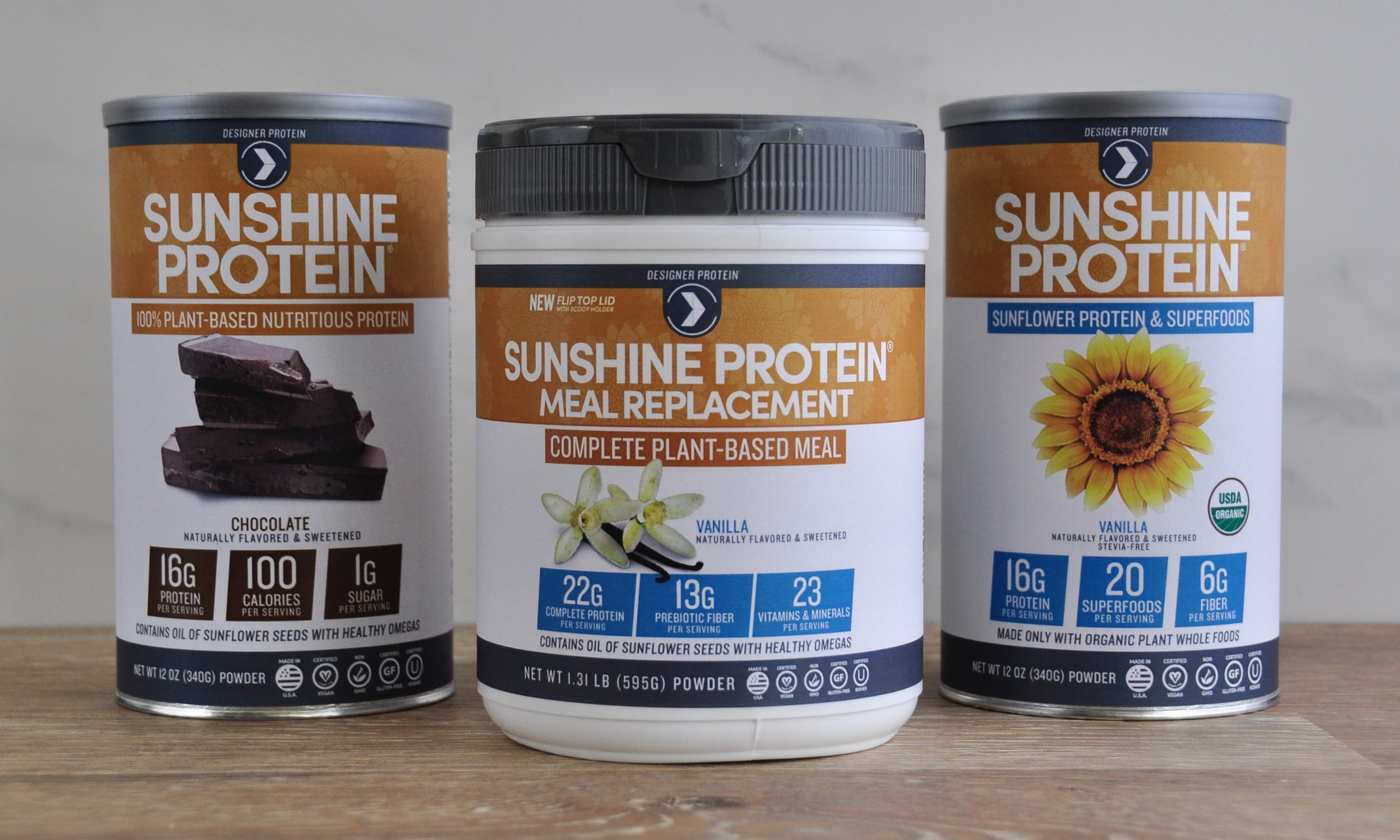 Sunshine Protein Family -collaborated on front panel design, in charge of designing back and nutritional panel layouts.