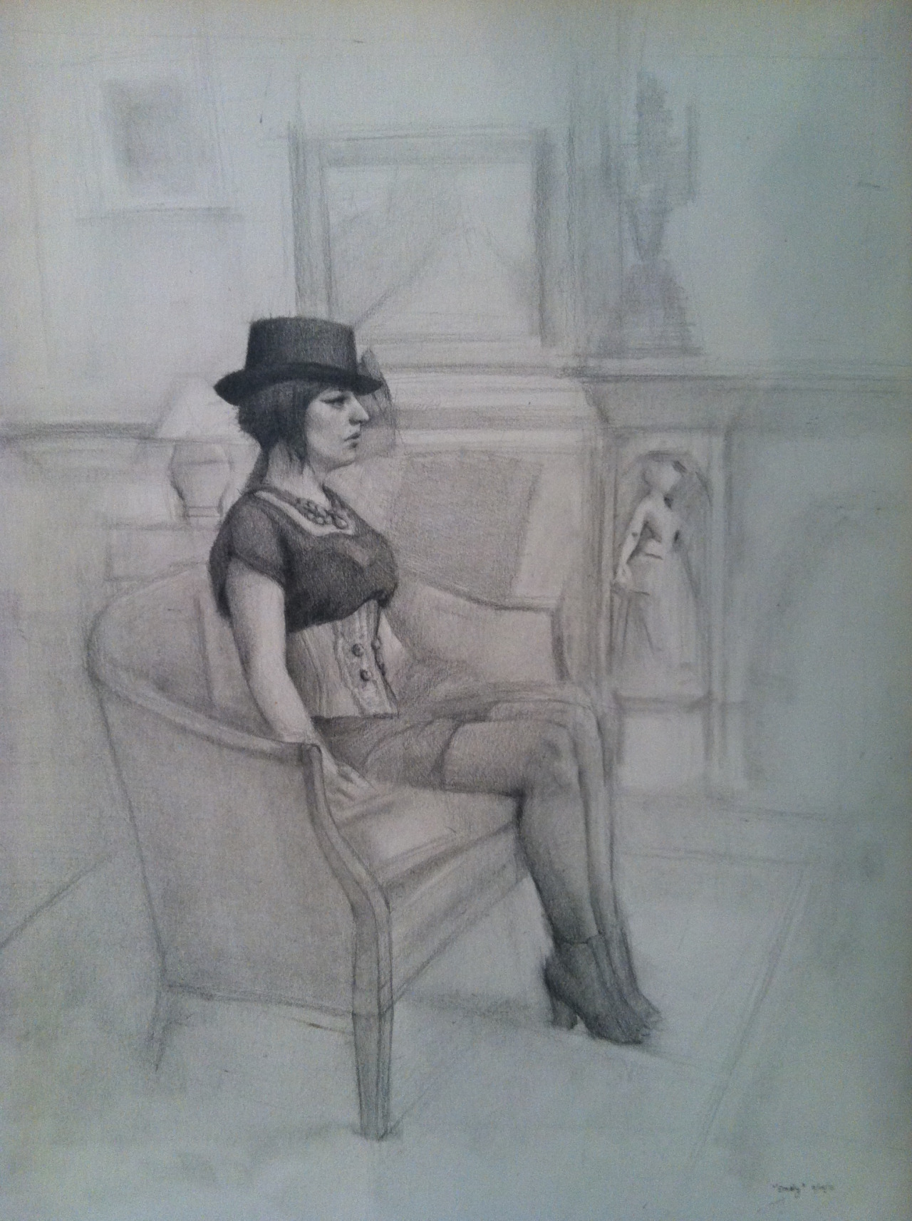 Had the pleasure of drawing while monitoring at the Salmagundi Club today. These are the results.