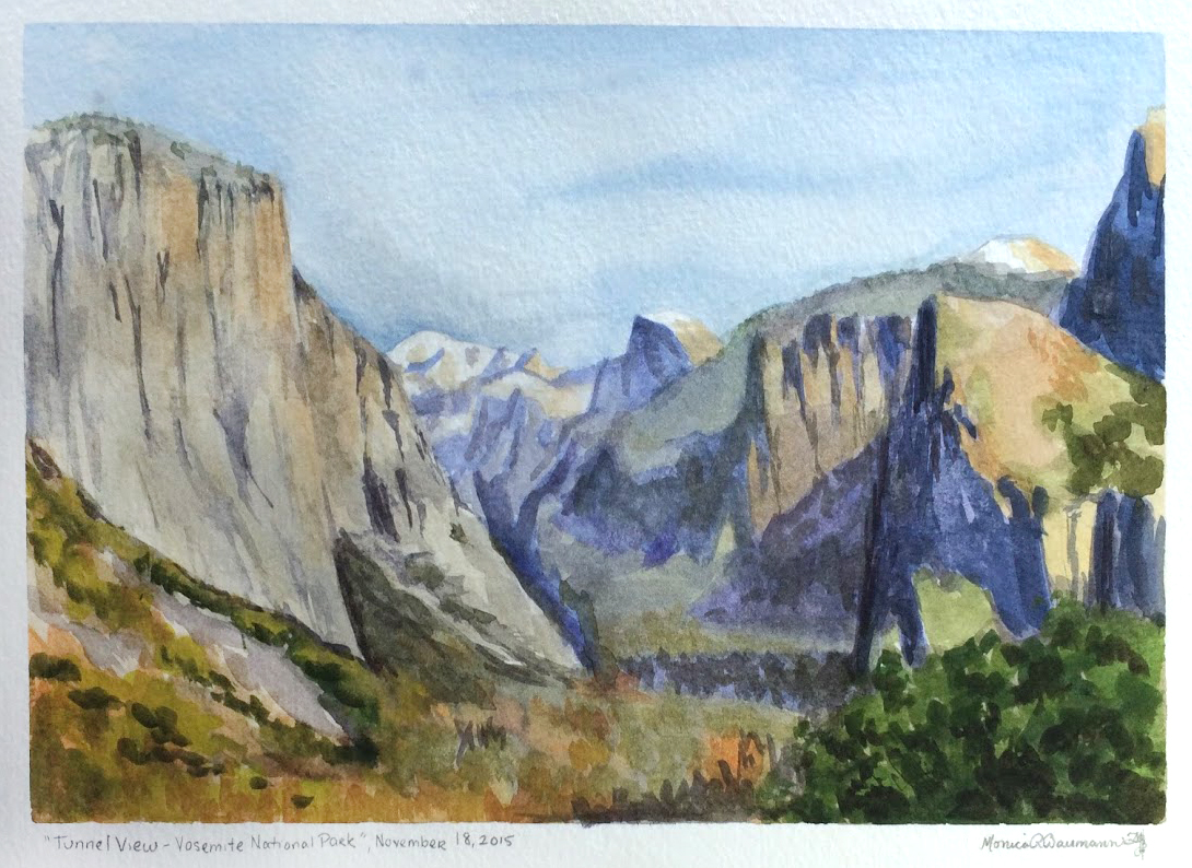"""Tunnel View - Yosemite National Park"" , Watercolor on Paper"