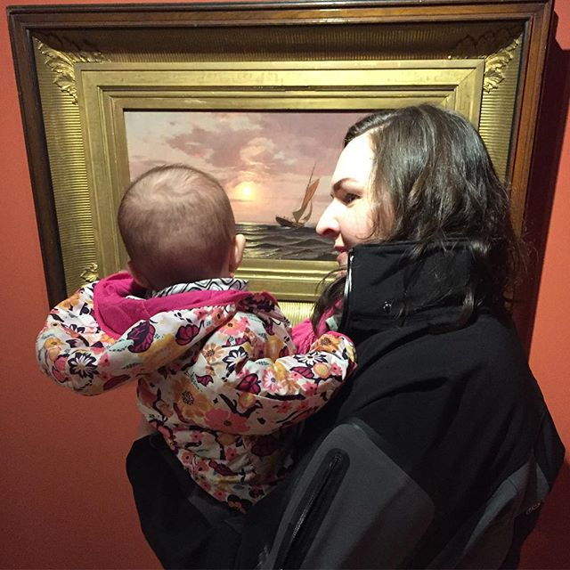 You're never too young to start appreciating art. Nora had her first gallery experience today. I haven't gotten to make much art these past months as I learn how to manage life with a little one, but we plan on spending a lot of our summer outside appreciating and painting this beautiful state of Vermont. In the mean time, I'm getting my home studio space set up right to get something out of the last of this winter. #babylovesart #painting