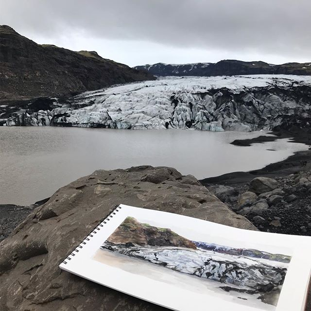"Painting Glaciers is hard. My husband and I are expecting our second child in August and decided to take a little ""babymoon"" to Iceland, in between soaks in hot springs I was able to paint this one painting of a glacier from life. Such a beautiful challenge."