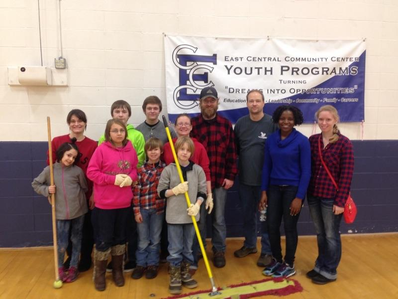EHF, BHT, and FIN staff volunteer with local youth at East Central Community Center.