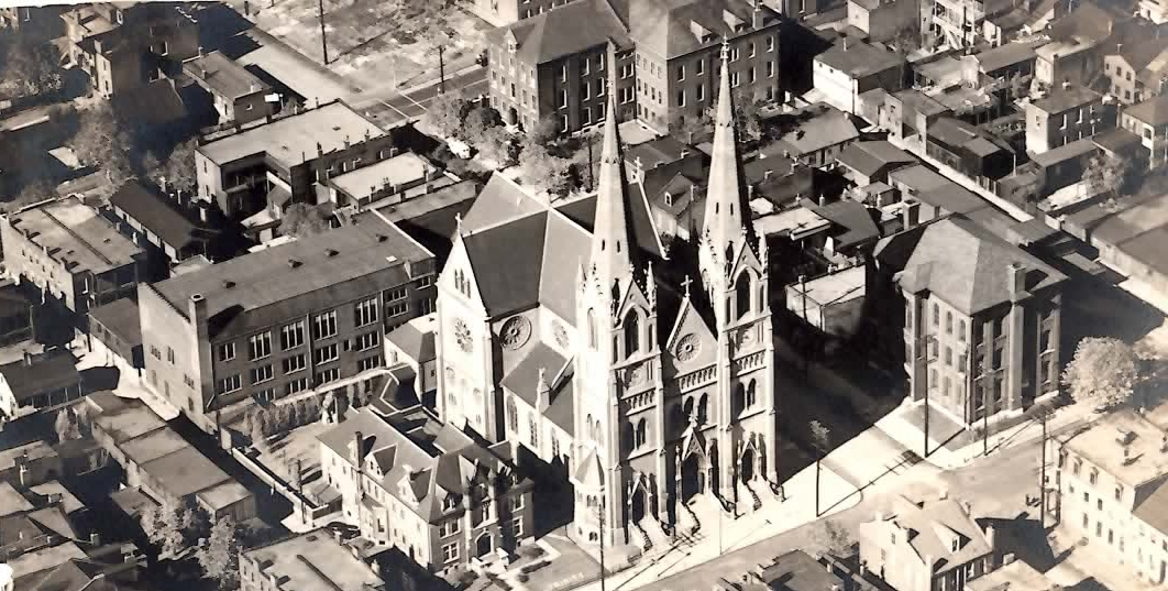 1930s  Holy Trinity Church, fully restored after the devastating Tornado in 1927. The third tower of the church was never rebuilt.