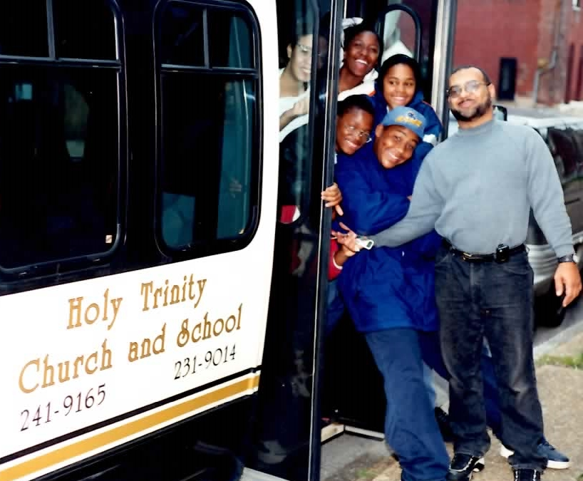 Most Holy Trinity students traveling together on the Trinity Trolley