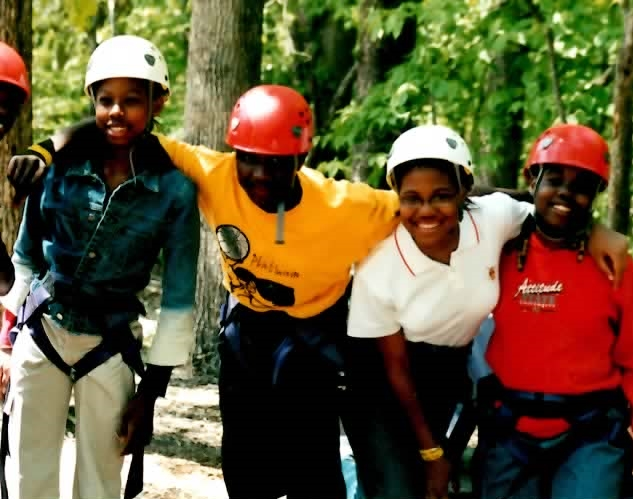 Students at Most Holy Trinity on a team-building, outdoor field trip