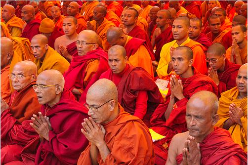 Buddhist monks in meditation