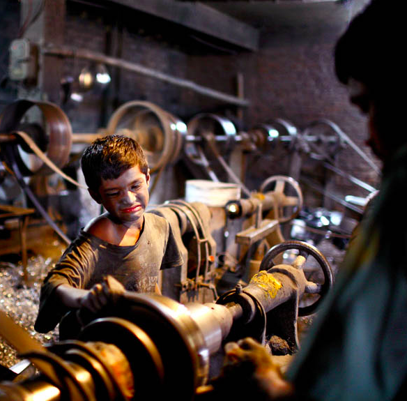 Child slave in a factory