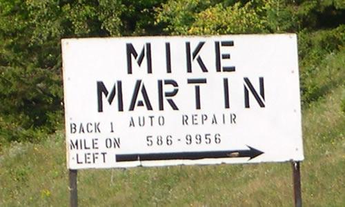 Mike Martin Auto Repair   Towing & repairs  1301 Town Line Rd  Craftsbury  VT 05826  Phone: (802) 586-9956