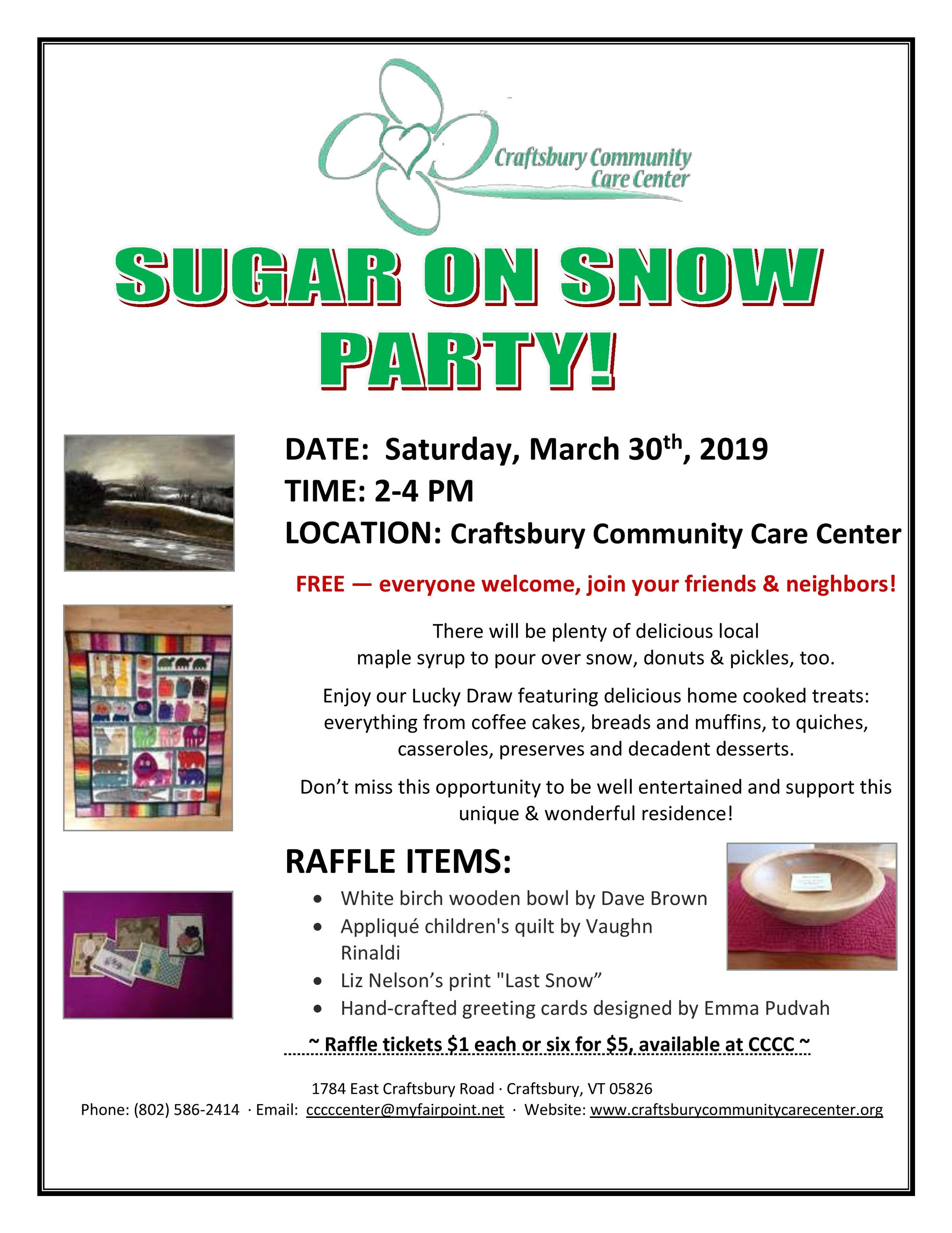 Sugar on Snow Party at CCCC — Town of Craftsbury