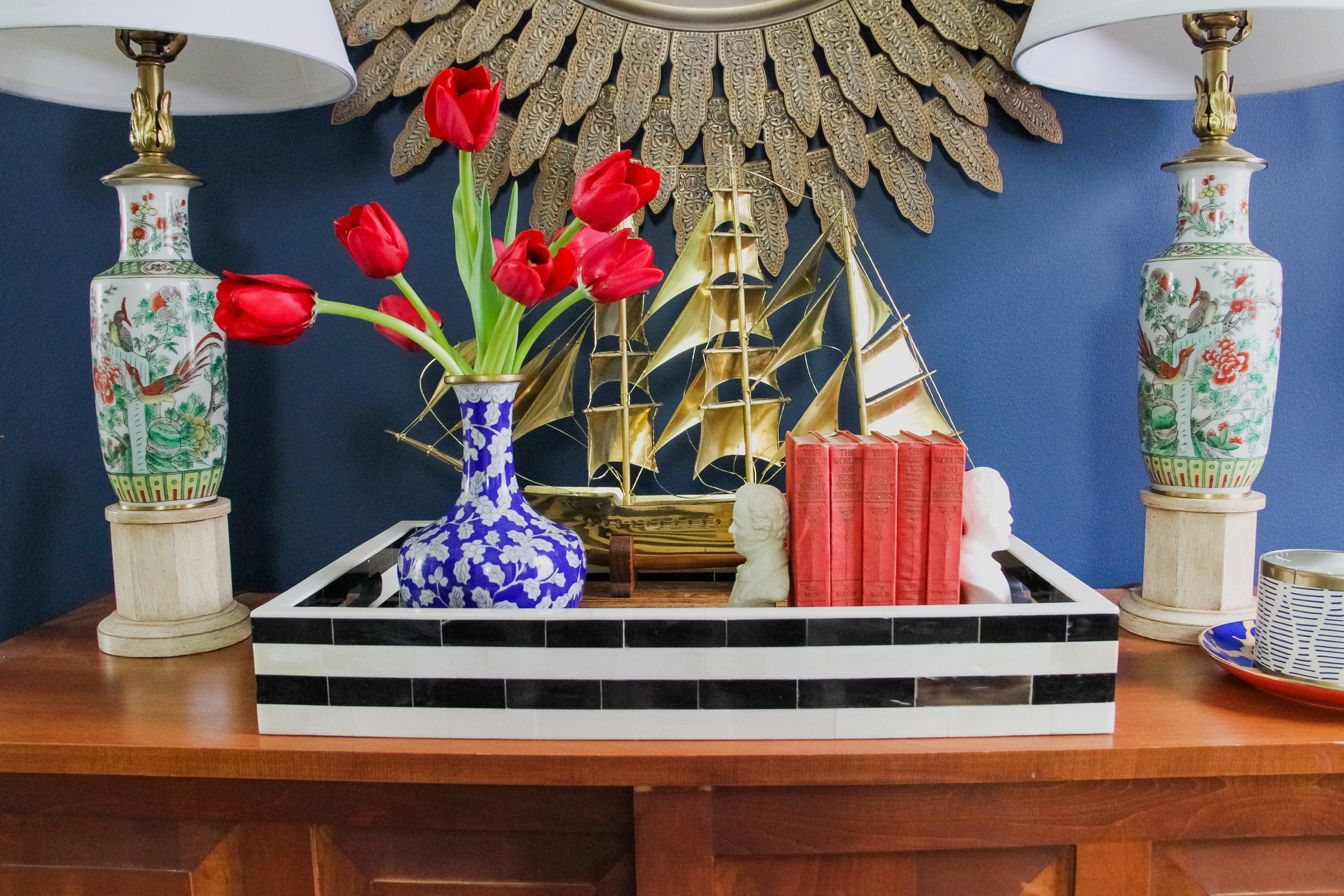 Preppy Entryway with Chinoiserie Lamps