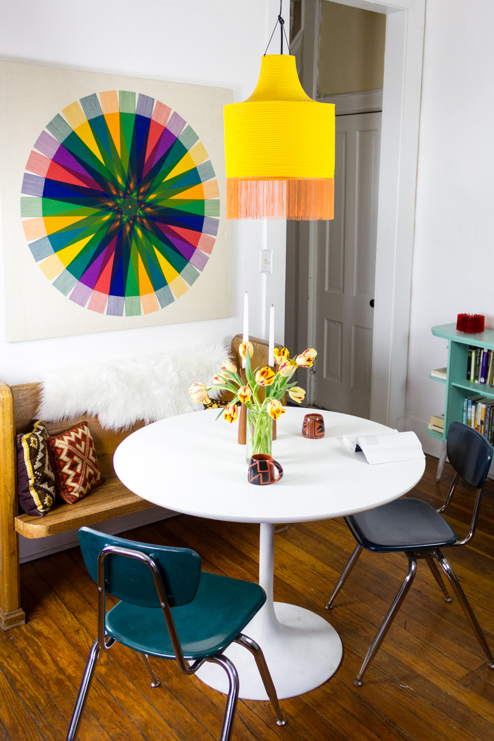 Bright and Colorful Dining Room with Tulip Table