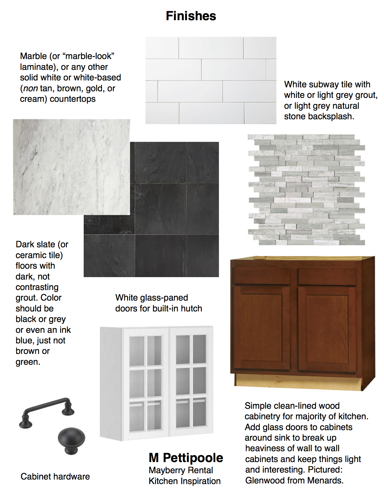 M Pettipoole – Mayberry Rental Kitchen Finishes and Fixtures Mood Board