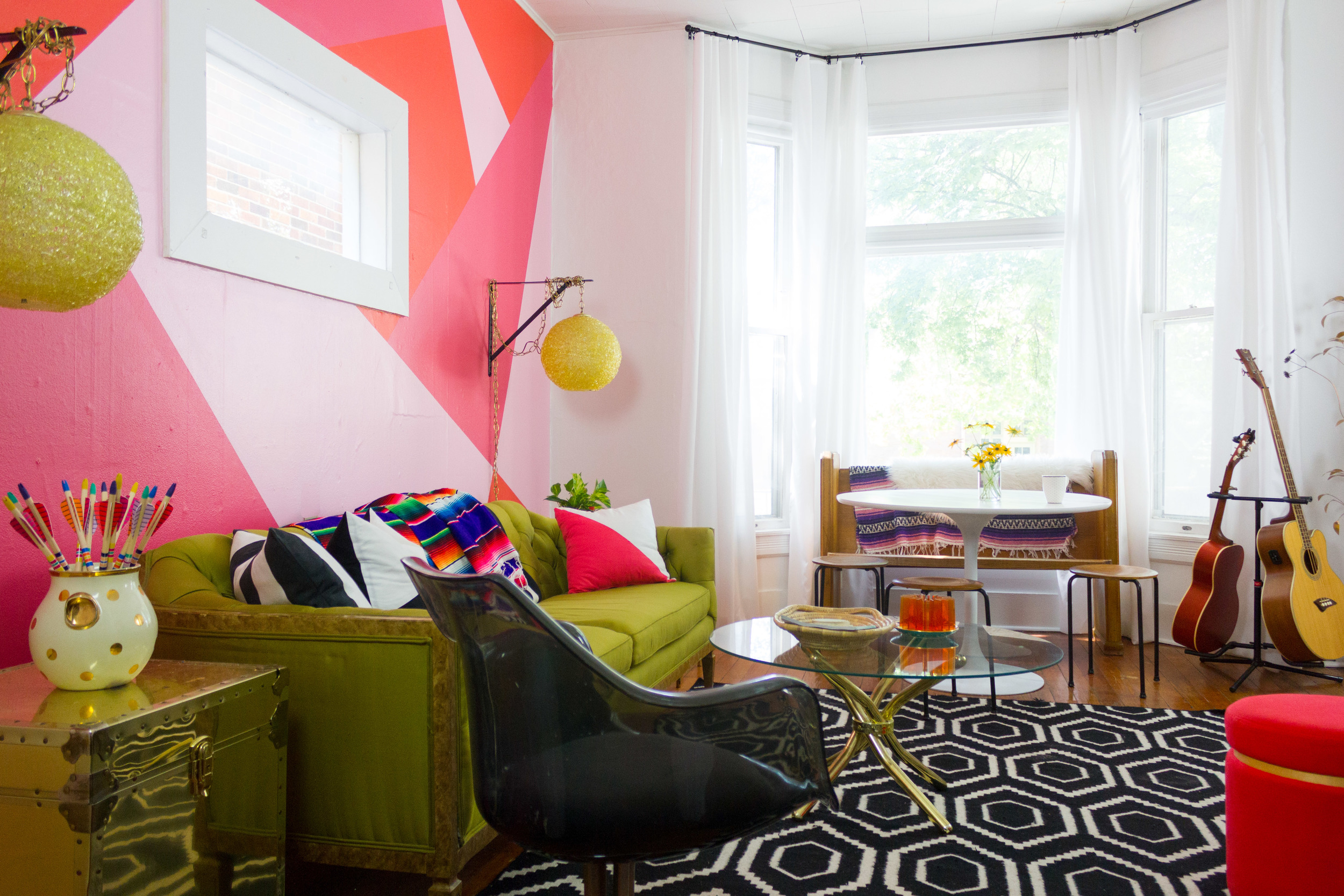 M Pettipoole – Bohemian Living Room with Pink Accent Wall