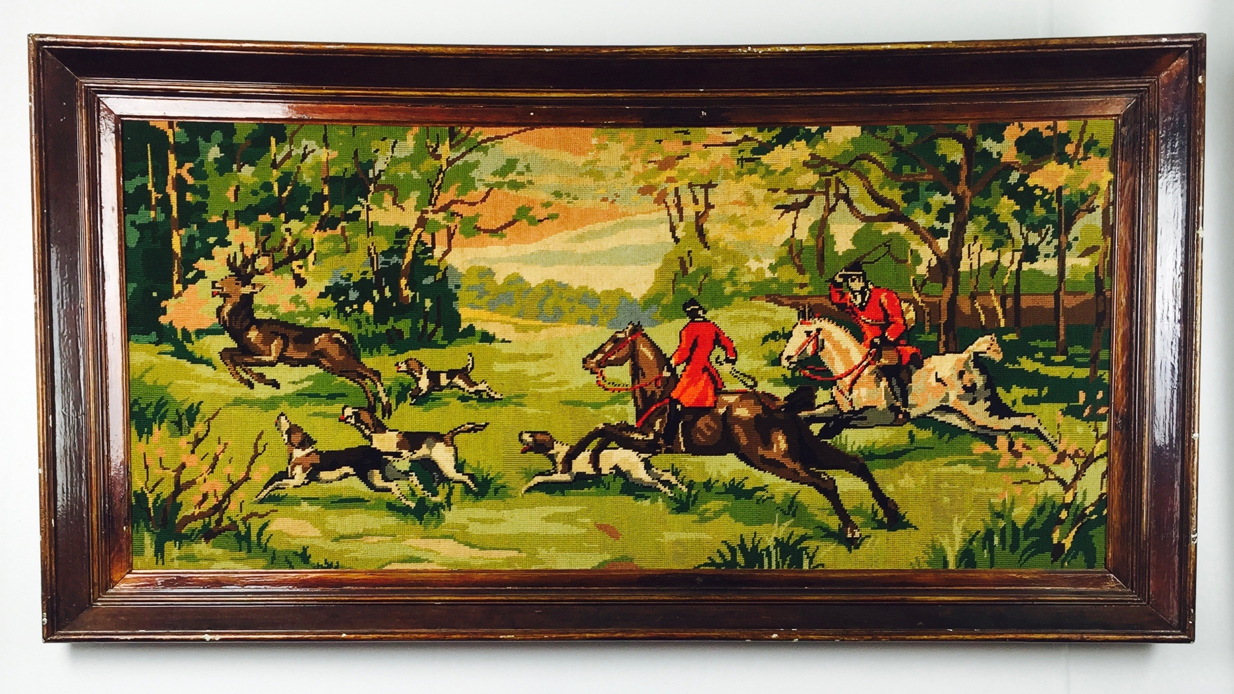 British Hunting Scene Needlepoint – found at a local thrift store in Omaha, Ne