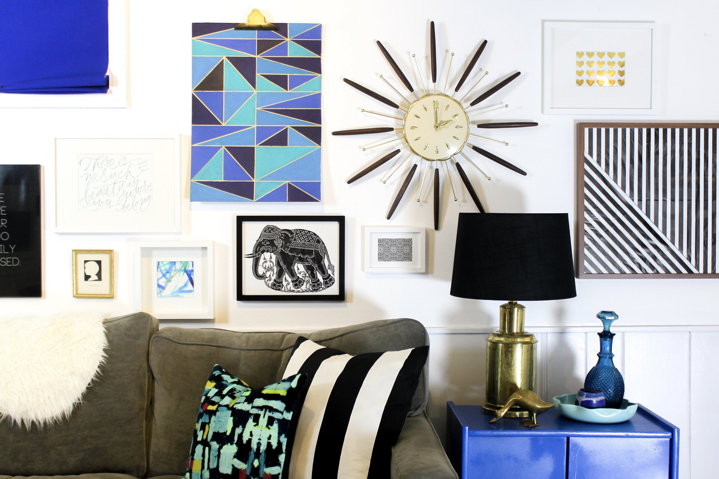 Eclectic Black and Blue Gallery Wall – M Pettipoole